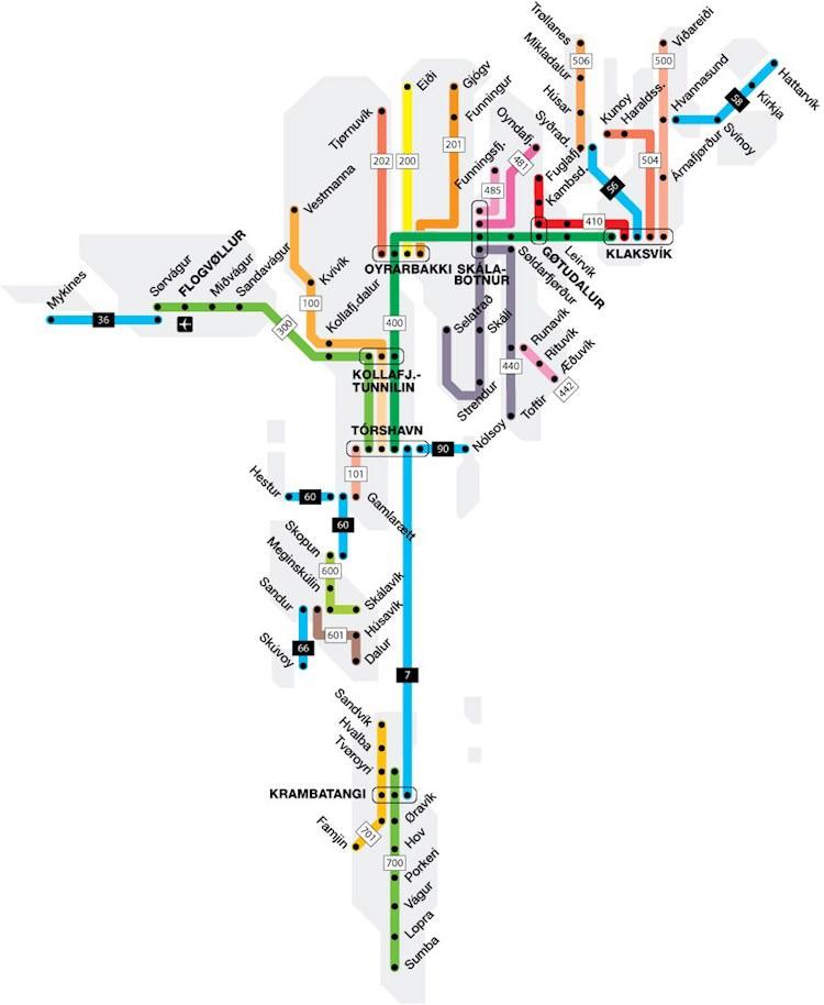 Wyspy Owcze - transport publiczny, autobusy, promy